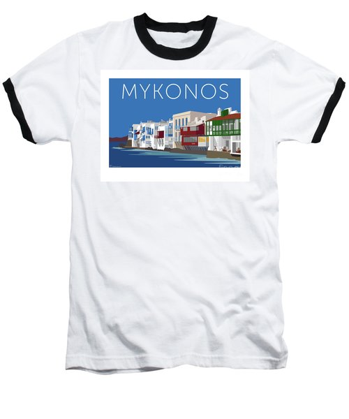 Mykonos Little Venice - Blue Baseball T-Shirt