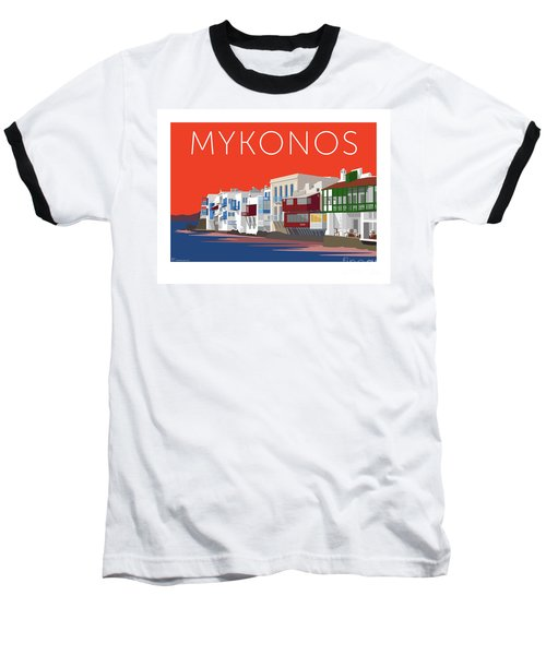 Mykonos Little Venice - Orange Baseball T-Shirt