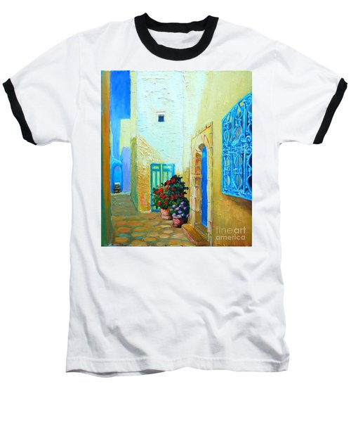 Baseball T-Shirt featuring the painting Narrow Street In Hammamet by Ana Maria Edulescu