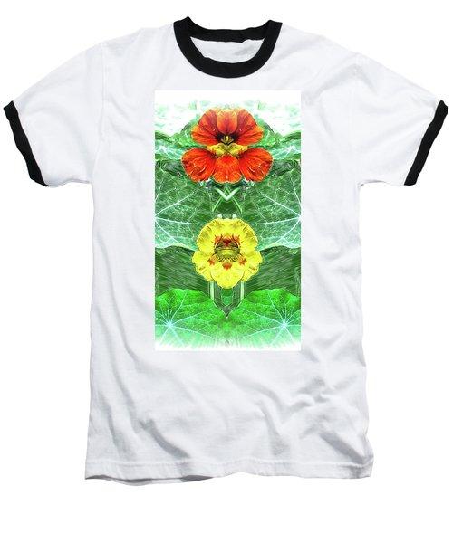 Nasturtium Mirror Image Pareidolia Baseball T-Shirt