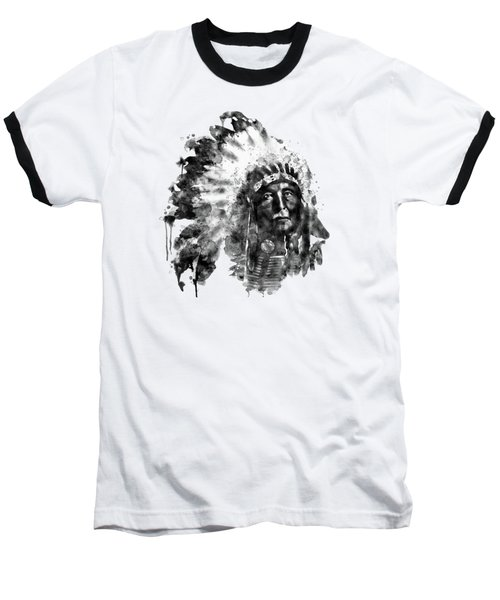 Baseball T-Shirt featuring the mixed media Native American Chief Black And White by Marian Voicu
