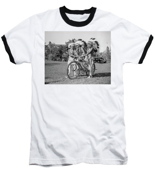 Native Americans With Bicycle Baseball T-Shirt