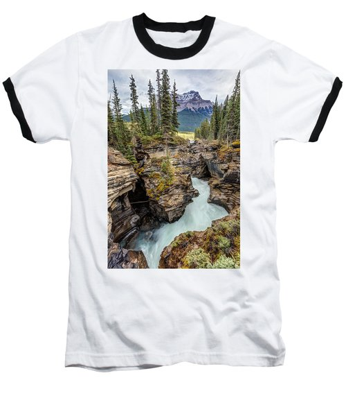 Baseball T-Shirt featuring the photograph Natural Flow Of Athabasca Falls by Pierre Leclerc Photography