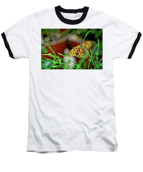 Nature - Butterfly And Plants Baseball T-Shirt