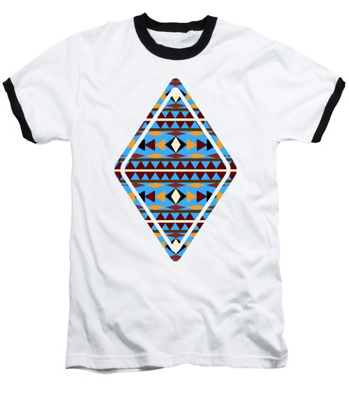 Navajo Blue Pattern Art Baseball T-Shirt by Christina Rollo