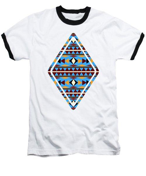 Navajo Blue Pattern Art Baseball T-Shirt