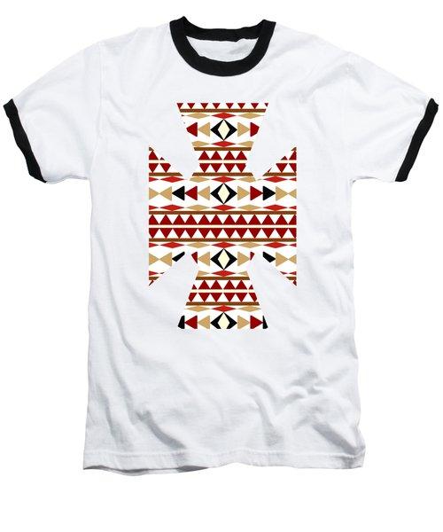 Navajo White Pattern Art Baseball T-Shirt
