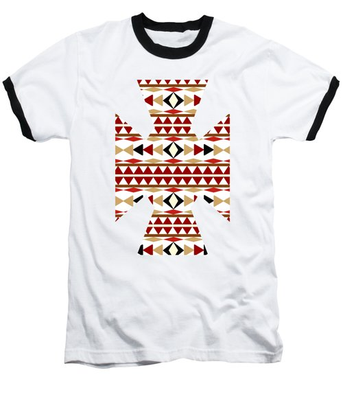 Navajo White Pattern Art Baseball T-Shirt
