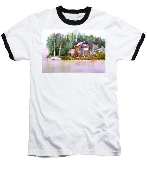 New England Boat Repair Baseball T-Shirt by Larry Hamilton