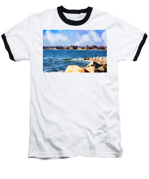 New England Shoreline - Painterly Baseball T-Shirt by Judy Palkimas