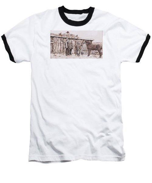 Baseball T-Shirt featuring the painting New Stallion At The Homestead Historical Vignette by Dawn Senior-Trask
