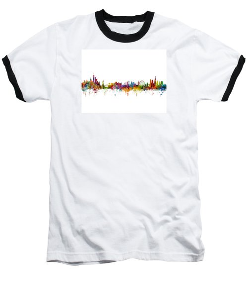 New York And London Skyline Mashup Baseball T-Shirt