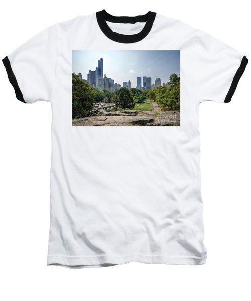 New York Central Park With Skyline Baseball T-Shirt
