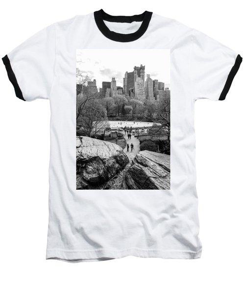 New York City Central Park Ice Skating Baseball T-Shirt