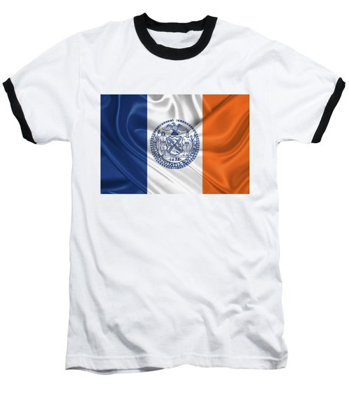 New York City - Nyc Flag Baseball T-Shirt by Serge Averbukh