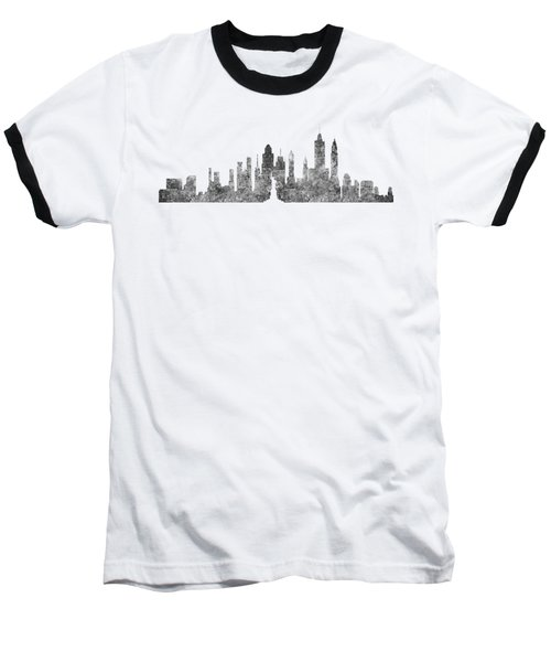New York City Skyline B/w Baseball T-Shirt by Anton Kalinichev