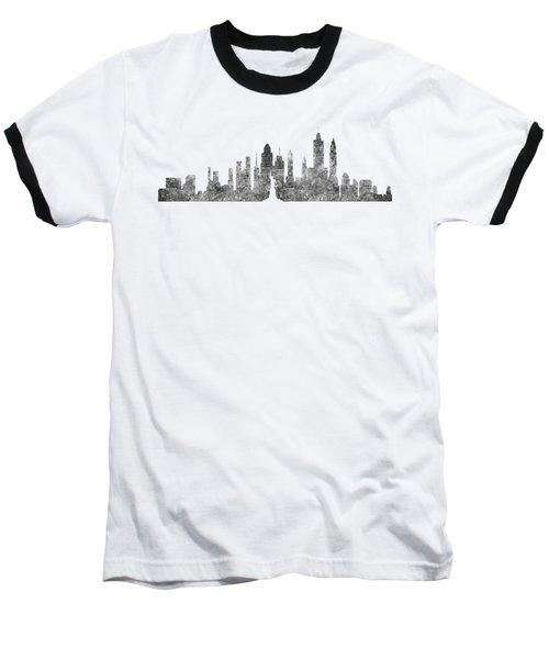 New York City Skyline B/w Baseball T-Shirt
