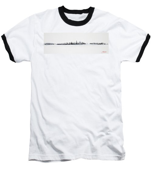 New York City Skyline Black And White Baseball T-Shirt