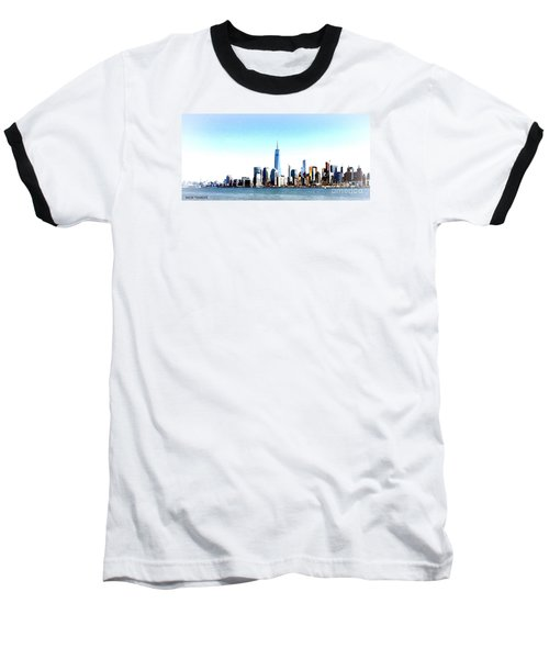 Baseball T-Shirt featuring the painting New York City Skyline by Denise Tomasura