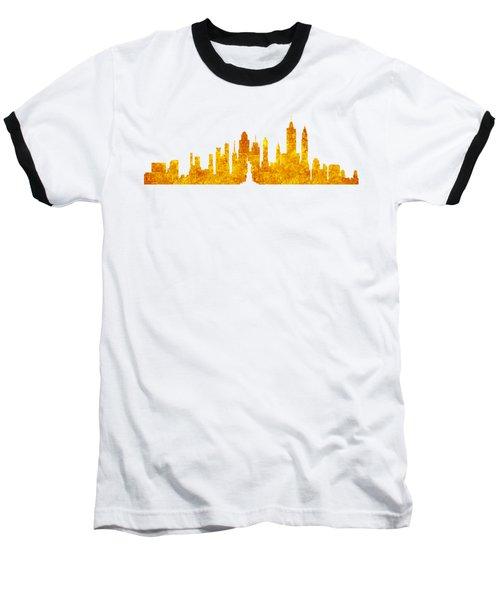 New York, Golden City Baseball T-Shirt by Anton Kalinichev