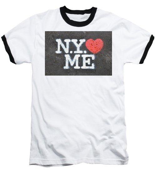 New York Loves Me Stencil Baseball T-Shirt