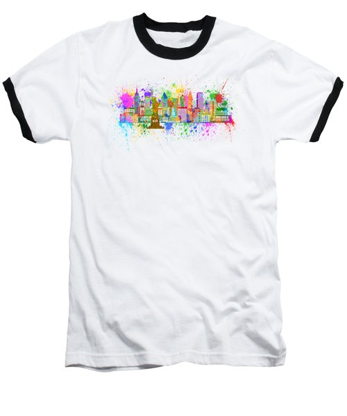 New York Skyline Paint Splatter Illustration Baseball T-Shirt