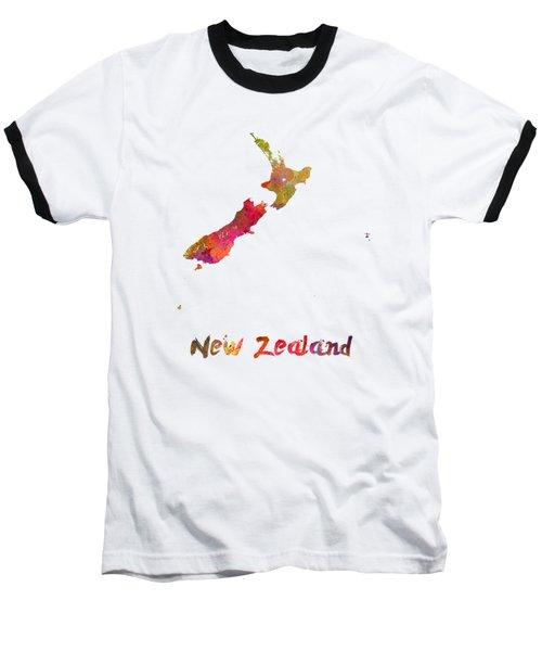 New Zealand In Watercolor Baseball T-Shirt by Pablo Romero