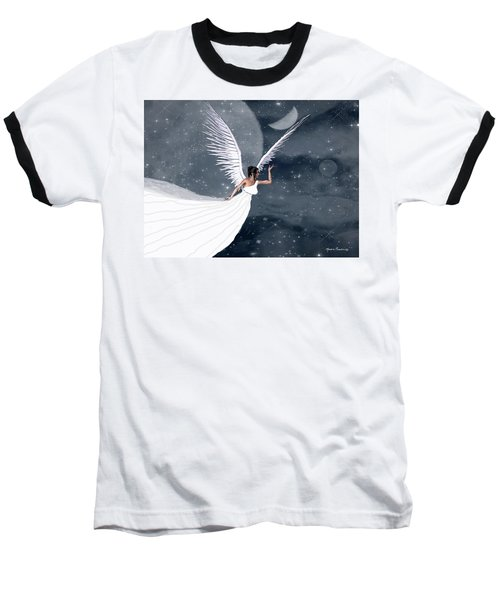 Night Angel Baseball T-Shirt by Rosalie Scanlon