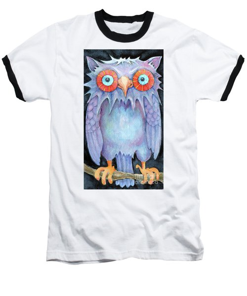 Baseball T-Shirt featuring the painting Night Owl by Lora Serra