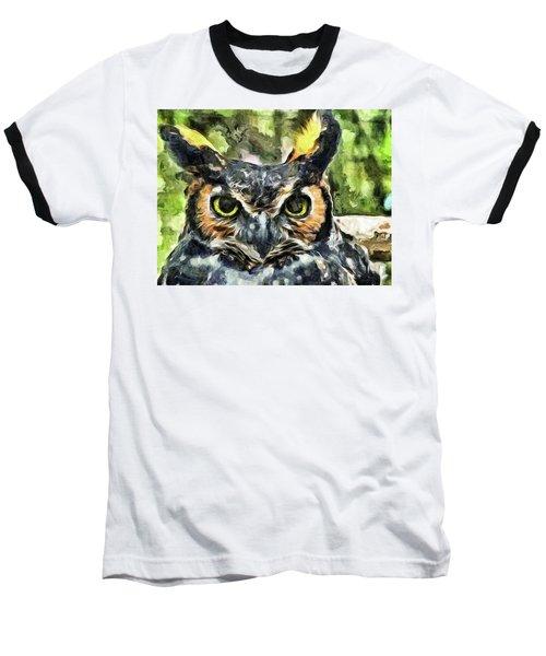 Baseball T-Shirt featuring the mixed media Night Owl by Trish Tritz