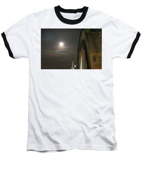 Night Shot Of The Los Angeles 6th Street Bridge And Supermoon #2 Baseball T-Shirt