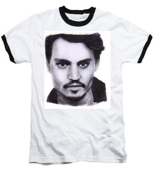 Johnny Depp Drawing By Sofia Furniel Baseball T-Shirt by Sofia Furniel