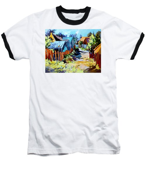Baseball T-Shirt featuring the painting No Through Road by Rae Andrews
