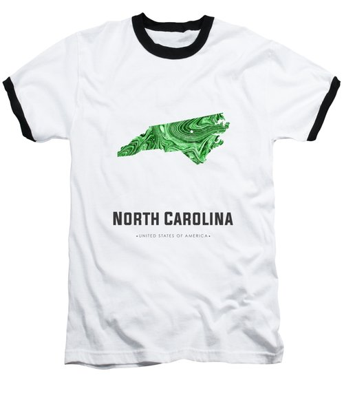 North Carolina Map Art Abstract In Green Baseball T-Shirt
