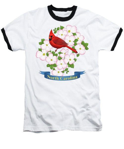North Carolina State Bird And Flower Baseball T-Shirt