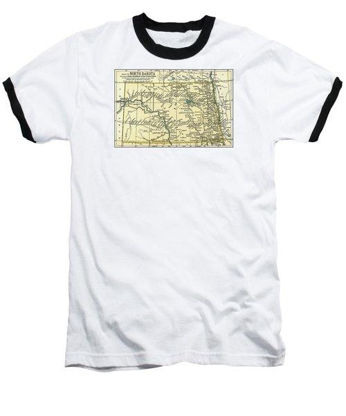 North Dakota Antique Map 1891 Baseball T-Shirt by Phil Cardamone
