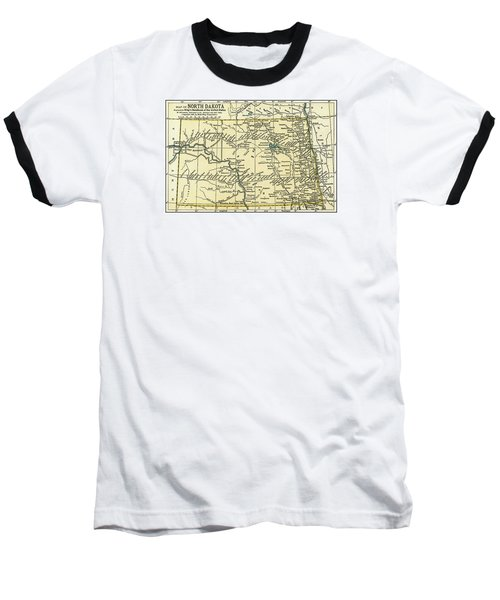 North Dakota Antique Map 1891 Baseball T-Shirt