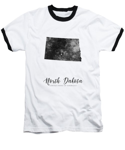 North Dakota State Map Art - Grunge Silhouette Baseball T-Shirt