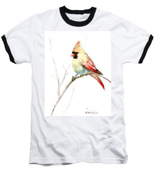 Northern Cardinal,female Baseball T-Shirt by Suren Nersisyan