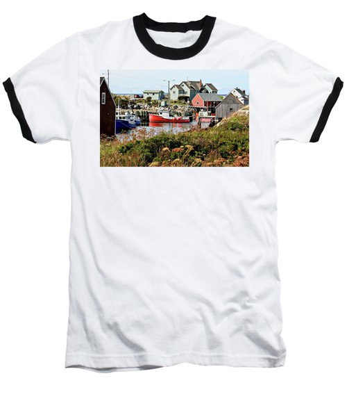 Baseball T-Shirt featuring the photograph Nova Scotia Fishing Community by Jerry Battle