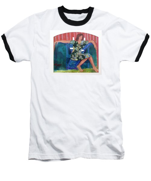 Baseball T-Shirt featuring the painting Nude In Paper Doll Dress by Betty Pieper