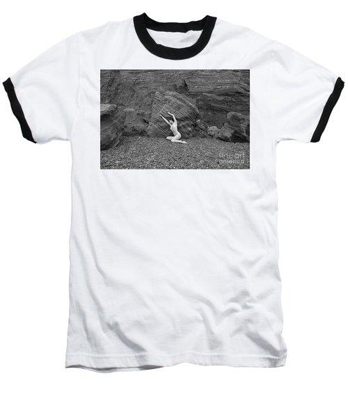 Nude Woman Pulling Shape By Rocks Baseball T-Shirt