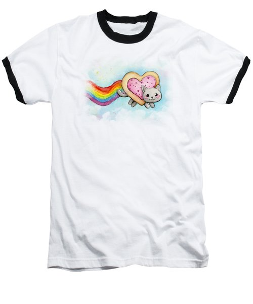 Nyan Cat Valentine Heart Baseball T-Shirt by Olga Shvartsur