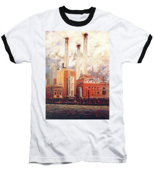 Baseball T-Shirt featuring the painting Nyc- View From East River  by Walter Casaravilla