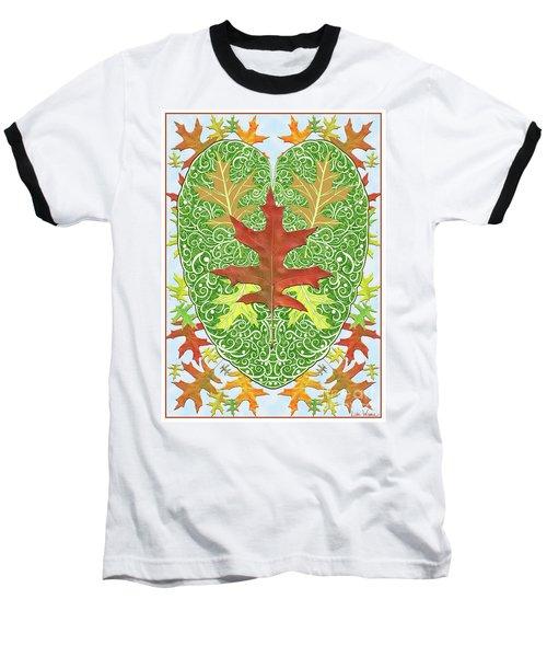 Baseball T-Shirt featuring the digital art Oak Leaf In A Heart by Lise Winne