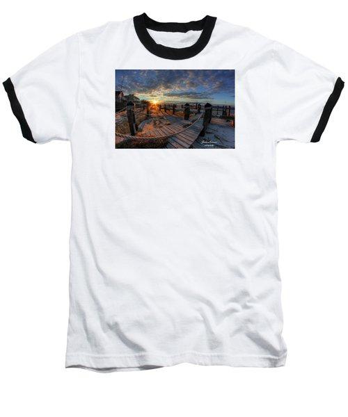 Oc Bay Sunset Baseball T-Shirt by John Loreaux
