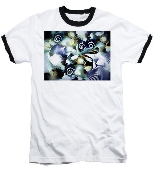 Baseball T-Shirt featuring the mixed media Ocean Gems 21 by Lynda Lehmann