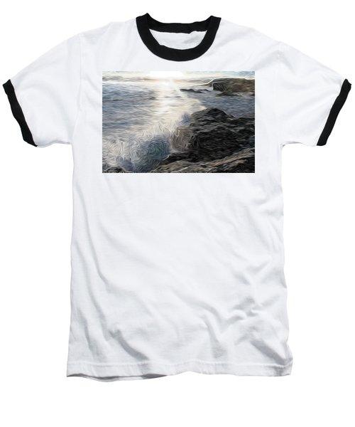 Ocean Splash Baseball T-Shirt by Carol Crisafi