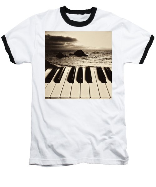 Ocean Washing Over Keyboard Baseball T-Shirt
