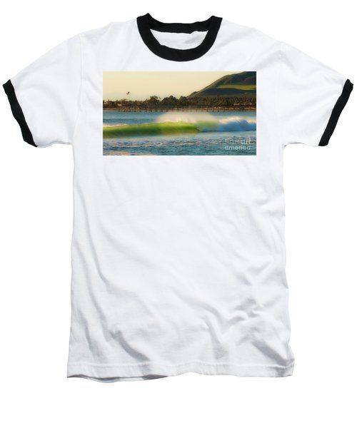Offshore Wind Wave And Ventura, Ca Pier Baseball T-Shirt by John A Rodriguez